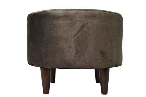 MJL Furniture Designs Sophia Collection Obsession Series Contemporary Round Ottoman, Java/Wooden Legs