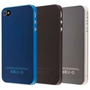 ECENCE Apple iPhone SE / 5 5S Juego de 3 x Protective TPU Funda de Silicona de Gel Juego de 3, Negro, Azul, Transparente 41030402