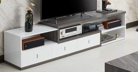 Amazon Com 70 Inch Tv Stand Distressed Grey And White Wood Modern