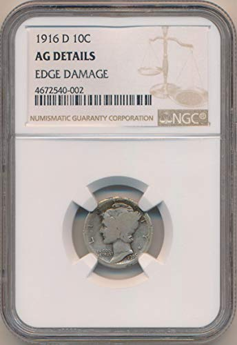 - 1916 D Mercury Dime Dime AG Details NGC
