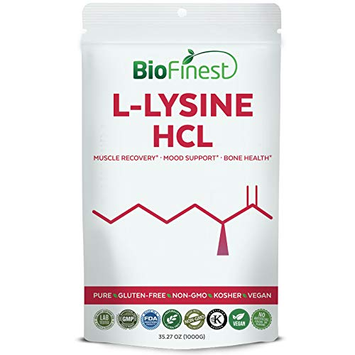Biofinest L-Lysine HCL Powder – Pure Gluten-Free Non-GMO Kosher Vegan Friendly – Supplement for Mood Enhancement, Muscle Strength, Bone Health (1000g) Review