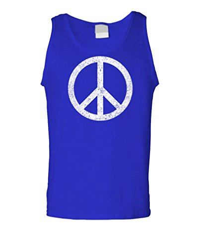 PEACE SIGN - retro 70's groovy 60's love - Mens Tank Top, 2XL, Royal - Sign Tank