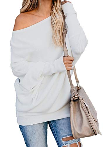 (HZSONNE Women's Fall Bat Wing Sleeve Knitted One Shoulder Loose Pullovers Sweater Jumper)