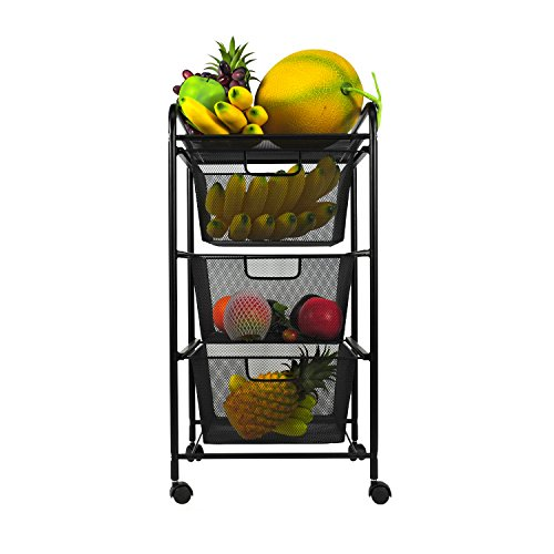 Drawer Rolled Mesh - YIMU 3 Tier Metal Mesh Cart with 3 Drawers, Office& Kitchen Storage with Rolling Wheels, Black