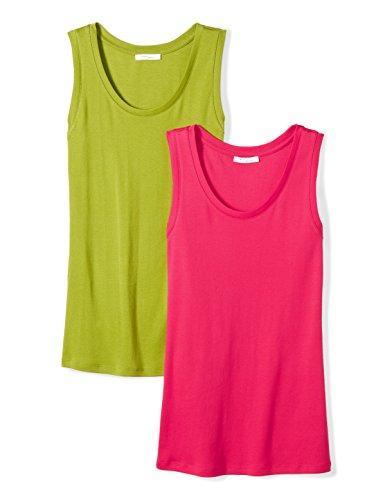 Rib Cotton Knit Tank (Daily Ritual Women's Midweight 100% Supima Cotton Rib Knit Sleeveless Shell Top, 2-Pack, L, Fuchsia/Woodbine Green)