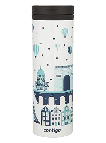 De Paris Mugs - Contigo THERMALOCK TwistSeal Eclipse Stainless Steel Travel Mug, 20oz, White (Paris)