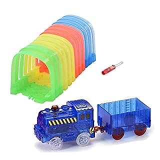 ONTOPON Magic Track Accessory with car Toy- Tunnel with LED Lights Blue Train