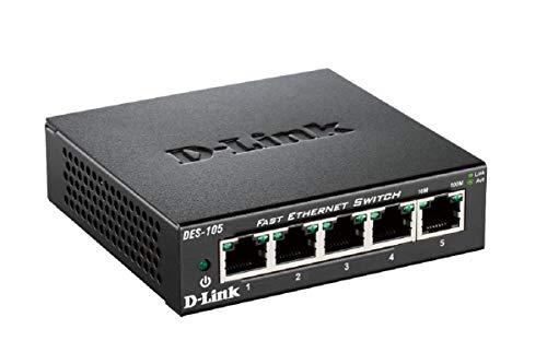 D-Link DES-105 – Switch de red con 5 puertos LAN Fast Ethernet 10/100 Mbps RJ-45, no gestionable Layer 2, carcasa metálica, color negro