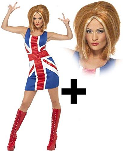 Smiffy's Women's Ginger Spice + Wig Celebrity Halloween Fancy Dres Costume Women: 16-18 Blues ()