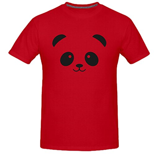 Touch-Me-Not Men's Lovely Cute Panda Face T-Shirt (Red
