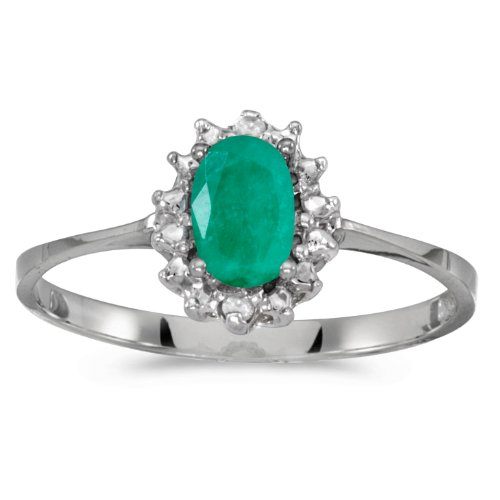 10k White Gold Genuine Green Birthstone Solitaire Oval Emerald And Diamond Wedding Engagement Ring - Size 7 (0.31 Cttw.) ()