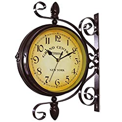 MENGSHI Classic Retro Clock, European Style Clock Double Sided Wall Clock,Battery Operated Quartz Movement Glass Wall Clock for Bedroom Living Room Indoor Decoration Kids