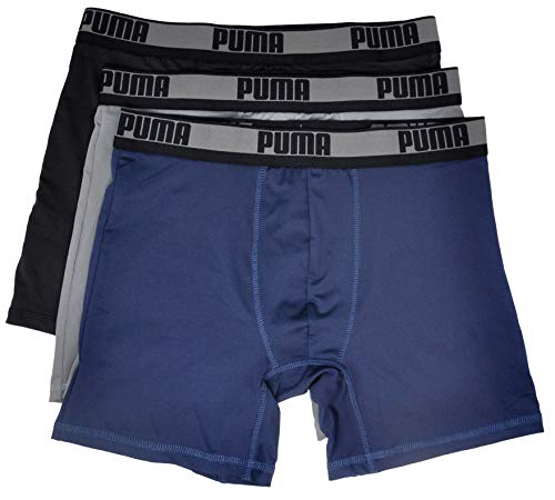 PUMA Men 3Pk Mens Vol Tech Boxer Brief, Navy/White, X-Large