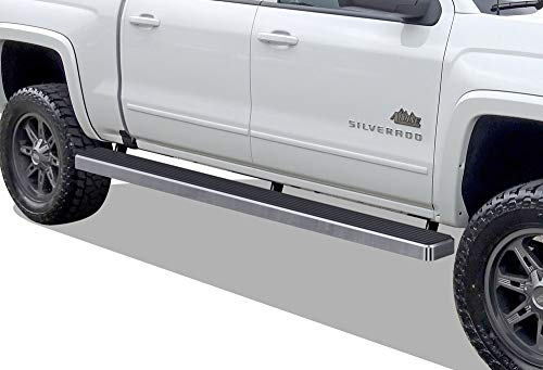 iBoard (Silver 5 inches Wheet to Wheel) Running Boards | Nerf Bars | Side Steps For 2007-2018 Chevy Silverado / GMC Sierra Crew Cab 5.5ft Short Bed & 2019 2500 - Bars Hd Nerf Westin