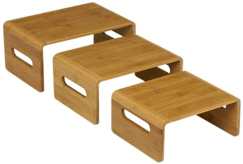 Rosseto SB101 3-Piece Natural Finish Bamboo Rectangular Riser Set by Rosseto