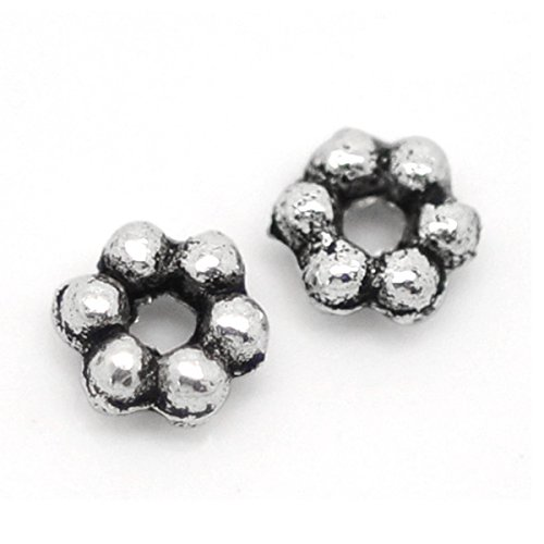 YC 500Pcs Silver Tone Daisy Spacer Beads 3mm Dia.Wholesale Loose Metal Beads Craft DIY Jewelry Making Findings Charms Pendants