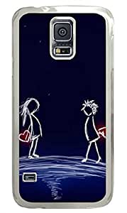 Freehand Painting Lovers PC Transparent Hard Case Cover Skin For Samsung Galaxy S5 I9600