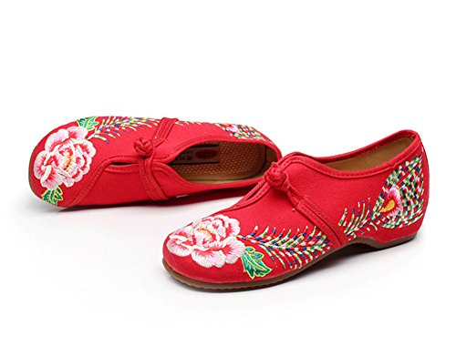 Avacostume Dames Phoenix Tail Oxford Zool Instappers Loafer Schoenen Rood