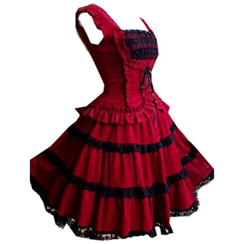 Damen Layer Multi Rot Damen Aermellos Gotisches Partiss Suesses Lolita Kleid w4qPAR6gH