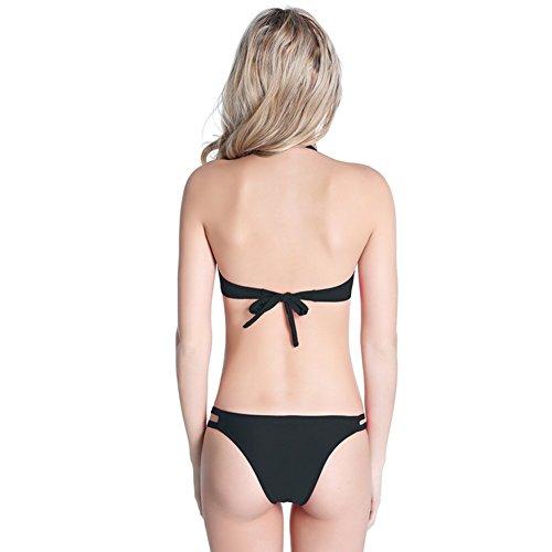 UDreamTime de las Femenino empuja hacia arriba la taza completa de trajes de baño bikini traje de baño Negro