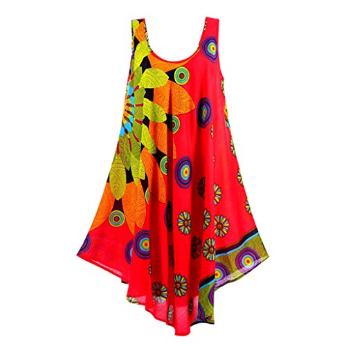Women Summer Chiffon Boho Dress Round Neck Sleeveless Floral Print Beach Dresses Party Gown (Red, 4XL) ()
