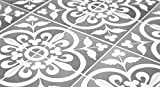 tile floor patterns Tiles Stickers Decals - Pack of 10 Tiles - 10 Individual Tiles - Tiles Decals (Floor - 13 x 13 inches - 33 x 33 cm, Grey and White Portuguese Tile Decal)