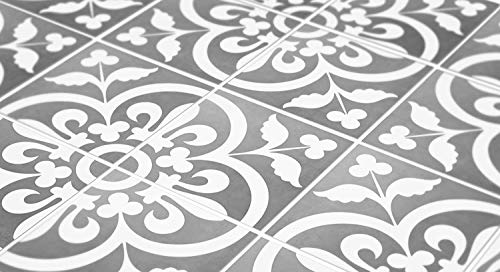 Tiles Stickers Decals - Pack of 10 Tiles - 10 Individual Tiles - Tiles Decals (Floor - 13 x 13 inches - 33 x 33 cm, Grey and White Portuguese Tile Decal)