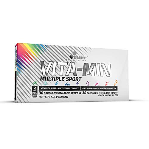 Olimp Vita-Min Multiple Sport Mega Caps, Chelated Magnesium, Calcium, Zinc, Vitamins & Minerals Dietary Supplement - Pack of 60 Capsules - 30 Servings - Hypoallergenic - Perfect for Active People