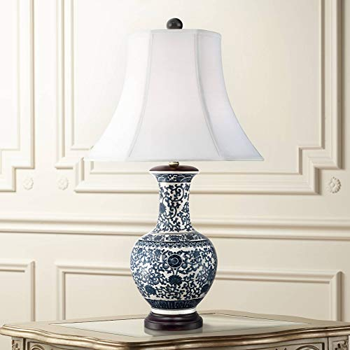 Windom Asian Table Lamp Ceramic Blue Floral Urn White Bell Shade for Living Room Family Bedroom Bedside Nightstand - Barnes and Ivy