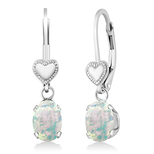 Gem Stone King 1.26 Ct Oval Cabochon White Simulated Opal 925 Sterling Silver Heart Shape Lever Earrings ()