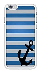 Blue and Gray Stripes Anchor Nautical Snap-On Cover Hard Plastic Case for iPhone 6 (White)