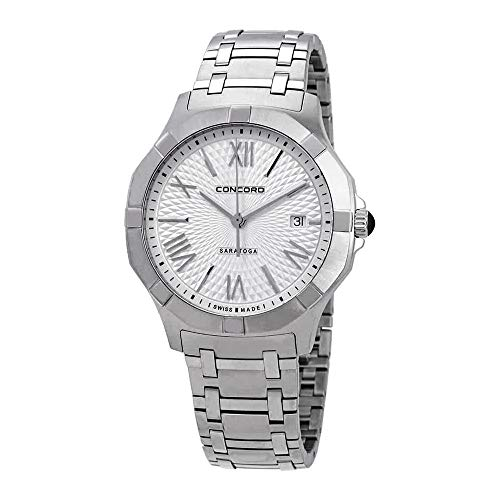 - Concord Saratoga Mens Stainless Steel Watch - 40mm Silver Face with Second Hand, Date and Sapphire Crystal Analog Quartz Watch - Swiss Made Timepiece Metal Band Luxury Watches for Men 0320153