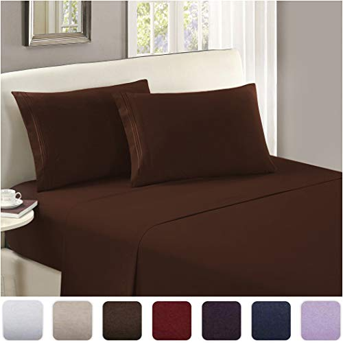 Mellanni Luxury Flat Sheet - Brushed Microfiber 1800 Bedding Top Sheet - Wrinkle, Fade, Stain Resistant - Ultra Soft - Hypoallergenic - 1 Flat Sheet Only (King, Brown)