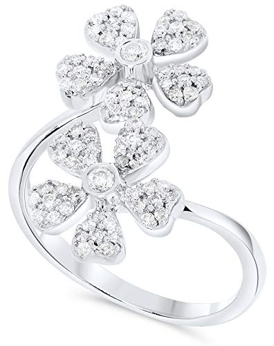 2/5 Carat Double Diamond Continuous Flower Ring in Sterling Silver