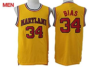 a03b4a170 Mens Len Bias  34 Maryland Jersey Throwback University Basketball Jerseys  Yellow Throwback L