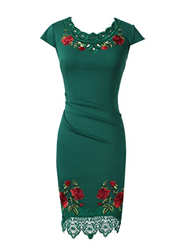 Green VfEmage Elegant Party Crochet Dress Lace Flower Cocktail Womens Embroidery Emerald pr5pqZvx