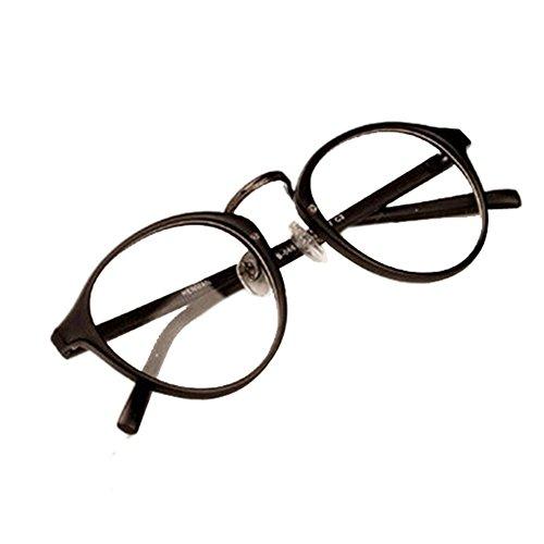 [Daxin Mens Womens Nerd Glasses Clear Lens Eyewear Unisex Retro Eyeglasses Spectacles (Scrub Black)] (Cheap Nerd Glasses)