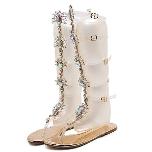 Geachte Tijd Vrouwen Gladiator Flats Sandalen Strass Enkelbandje Transparant Strip Kniehoge Strandschoenen Goud