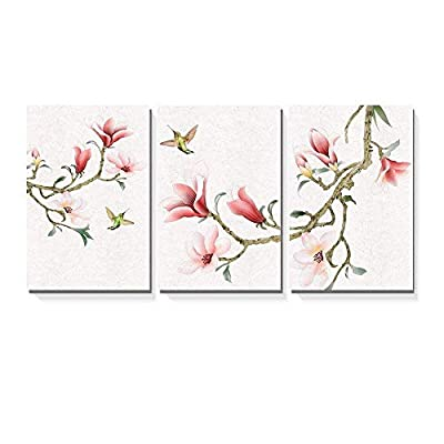 Lovely Picture, 3 Panel Watercolor Painting Style Magnolia and Birds x 3 Panels, Crafted to Perfection