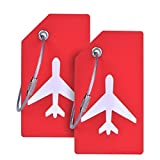 2Pack Silicone Luggage Tag With Name ID Card Perfect to Quickly Spot Luggage Suitcase By CPACC Red Color