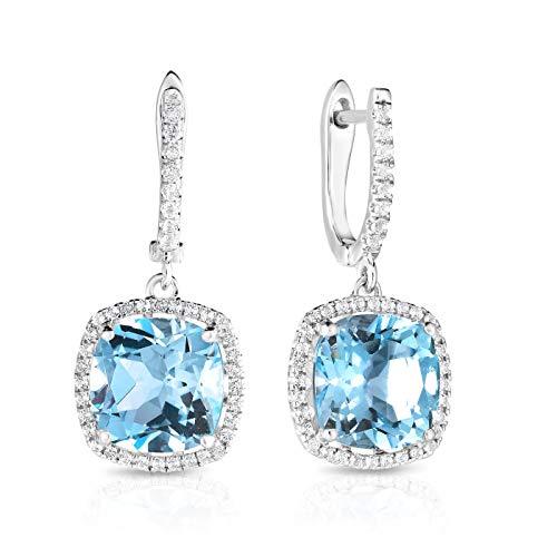 NATALIA DRAKE 4Cttw Sky Blue Topaz & White Topaz Diamond Fashion Earring
