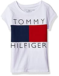 Tommy Hilfiger Big Girls' Pieced Flag Tee, Whiteredblue, Small