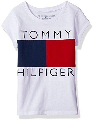 Tommy Hilfiger Big Girls' Tee, White/Red/Blue, Medium
