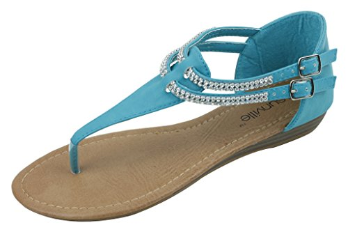 Gladiator Zip New Fashion Up Sandals 1018 Turquoise Women's Starbay Brand qtnnwxZR7U