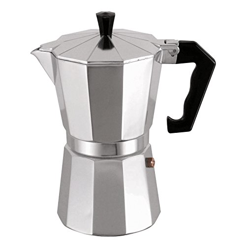 MSV Italian Coffee Machine for 3 Cups, Black/Silver