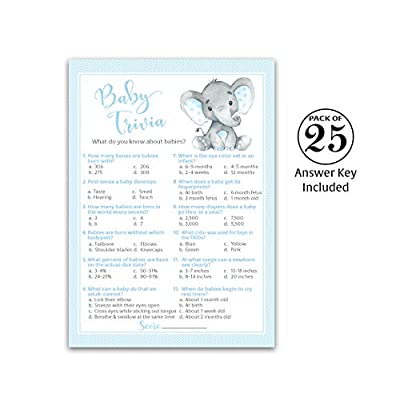 BLUE ELEPHANT Baby Shower Game — BABY TRIVIA Games — Pack of 25 — BOY Baby Shower Games, Fun Baby Facts Games, Baby Boy Shower Activity, Blue Polka Dot Baby Elephant Baby Shower Games, SKU G501-TRV: Toys & Games