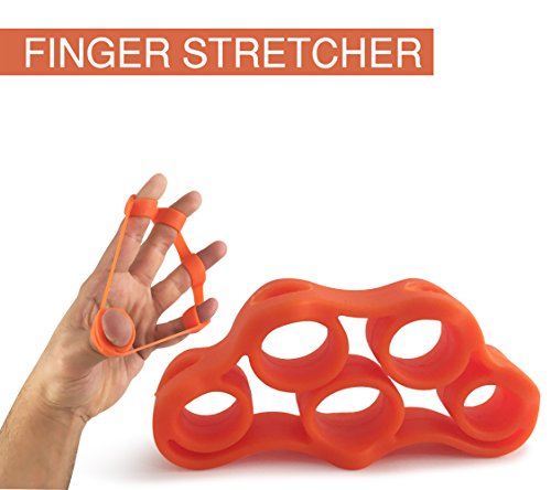 VOPEX Hand Grip Strengthener Exerciser Kit (5 Pack) Adjustable Hand Grips, Finger Strengthener, Hand Exerciser grip Ring, Finger Stretcher & Grip Strengthener ball by (Orange)
