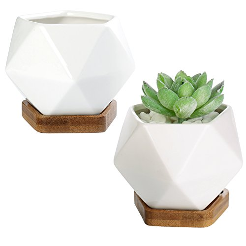 (Modern Geometric White Ceramic Mini Succulent Planter Pots with Removable Bamboo Saucer, Set of 2)