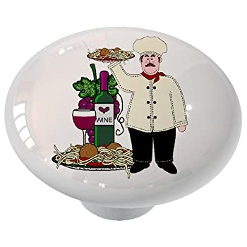 Italian Chef With Red Wine and Bread Ceramic Drawer Knob ...