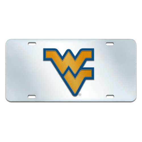 FANMATS NCAA West Virginia University Mountaineers Plastic License Plate (Inlaid)